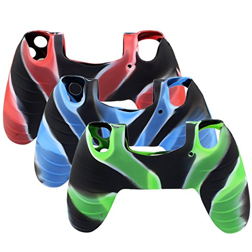 Super-Soft-Silicone-Cover-Case-Skin-for-Sony-Playstation-4-PS4-Controller-Camouflage-Red-Blue-Green-3-Colors-Package-0-0